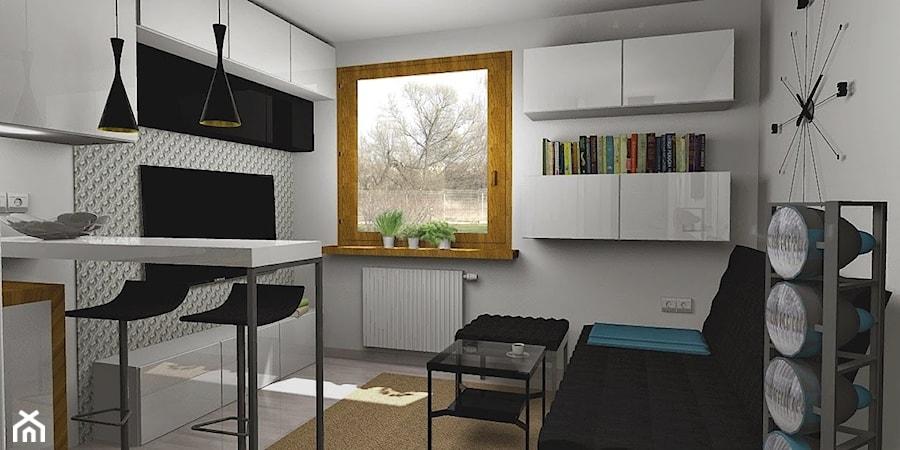 salon z aneksem kuchennym 14m2 salon styl minimalistyczny zdj cie od pracownia kardamon. Black Bedroom Furniture Sets. Home Design Ideas