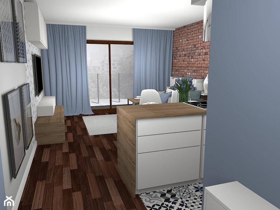 Głęboki Błękit I Zimny Beton 28m2 Mały Salon Z Kuchnią Z
