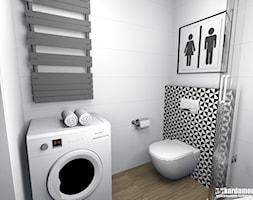 Mieszkanie w Krakowie z nutką abstrakcji pod najem 27,5m2 - Mała biała łazienka w bloku w domu jednorodzinnym bez okna, styl nowoczesny - zdjęcie od Pracownia Kardamon