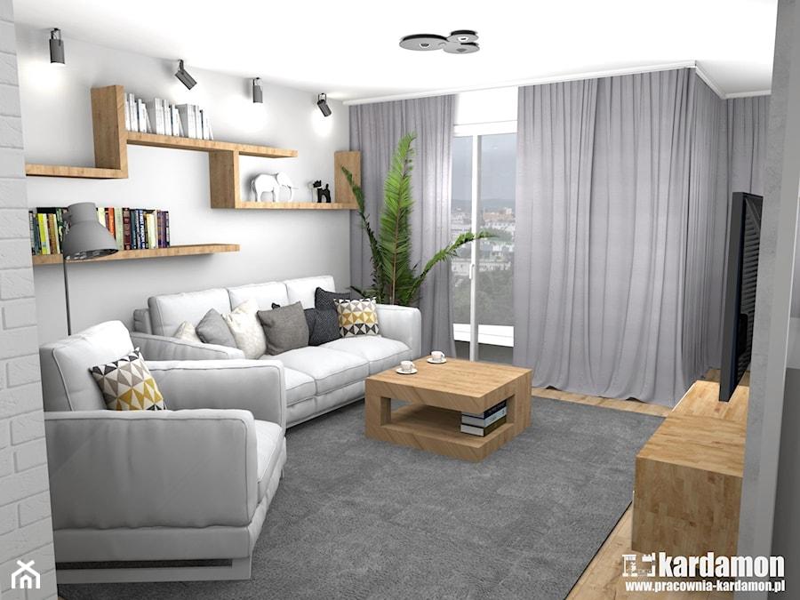 Ciepłe szarości w bloku ze ścianką TV - Średni szary salon z jadalnią, styl tradycyjny - zdjęcie od Pracownia Kardamon