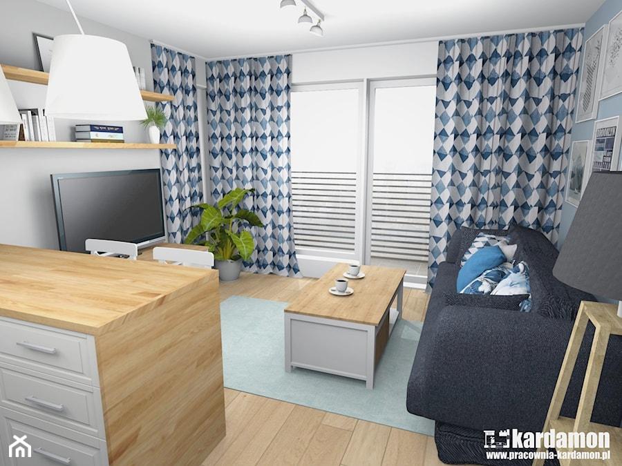Sielanka domowa w mieszkaniu w bloku - Mały szary salon, styl skandynawski - zdjęcie od Pracownia Kardamon