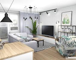 Mieszkanie usłane roślinami - Średni biały salon z bibiloteczką z kuchnią z tarasem / balkonem, sty ... - zdjęcie od Pracownia Kardamon - Homebook