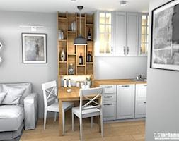 Szczypta domowej sielanki na 35 m2 - Średnia otwarta szara jadalnia w kuchni w salonie, styl skandynawski - zdjęcie od Pracownia Kardamon