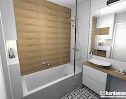 Sielanka domowa w mieszkaniu w bloku - Mała biała beżowa łazienka w bloku w domu jednorodzinnym bez okna, styl skandynawski - zdjęcie od Pracownia Kardamon