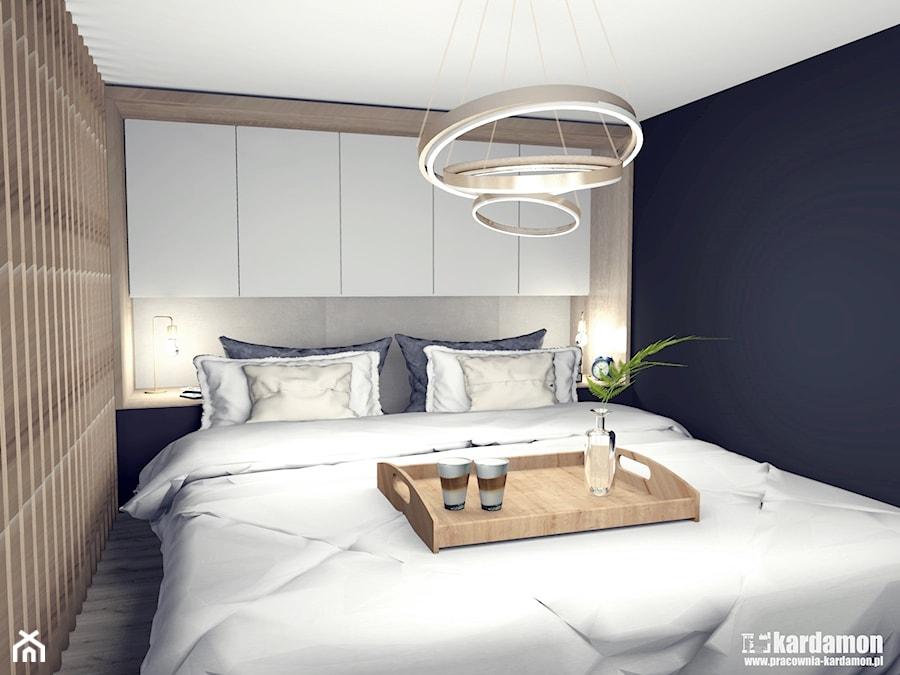 Kiedyś będziemy dorośli - niedługo - ale jeszcze nie teraz - Mała szara czarna sypialnia małżeńska, styl eklektyczny - zdjęcie od Pracownia Kardamon