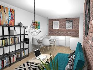 Salon z aneksem kuchennym 21m2 z elementami pop art