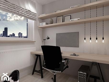 Aranżacje wnętrz - Biuro: A/AW/1/17 - Małe szare białe biuro domowe kącik do pracy w pokoju, styl industrialny - Kaza_concept. Przeglądaj, dodawaj i zapisuj najlepsze zdjęcia, pomysły i inspiracje designerskie. W bazie mamy już prawie milion fotografii!