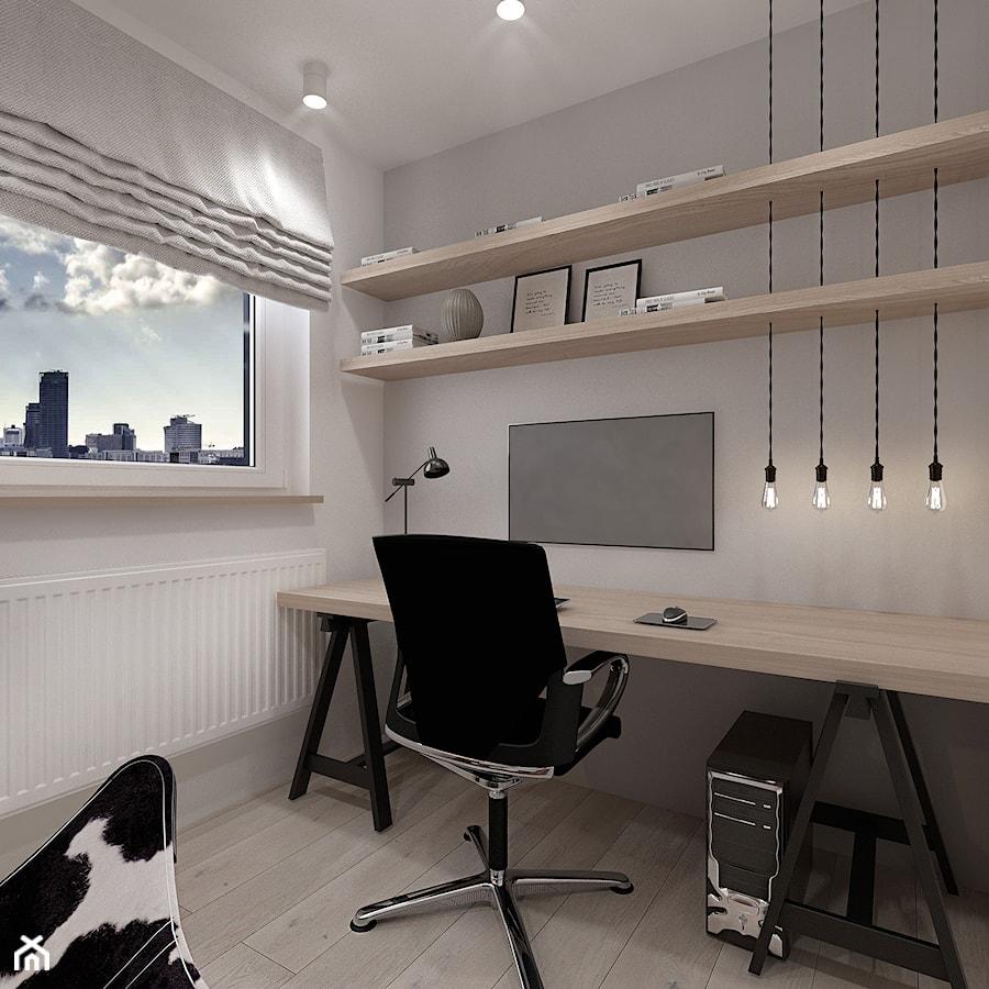 A/AW/1/17 - Małe szare białe biuro domowe kącik do pracy w pokoju, styl industrialny - zdjęcie od Kaza_concept