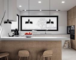 D/MU/12/17 - Duża otwarta biała kuchnia w kształcie litery g z wyspą z oknem, styl nowoczesny - zdjęcie od Kaza_concept