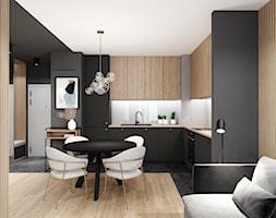 AW/ML/2019 - Średnia otwarta biała szara kuchnia w kształcie litery l w aneksie, styl nowoczesny - zdjęcie od Kaza_concept - Homebook