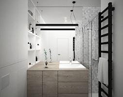 A/SPL/4/18 - Średnia biała szara łazienka w bloku w domu jednorodzinnym bez okna, styl nowoczesny - zdjęcie od Kaza_concept