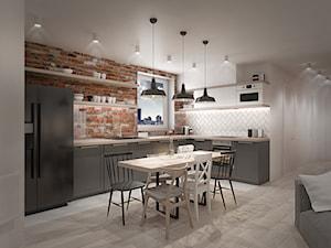 A/AW/1/17 - Średnia otwarta biała kuchnia w kształcie litery l w aneksie z oknem, styl industrialny - zdjęcie od Kaza_concept