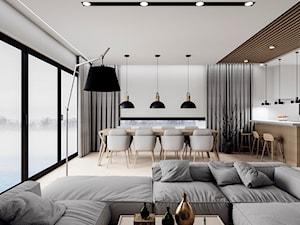 D/MU/12/17 - Średni biały salon z kuchnią z jadalnią z tarasem / balkonem, styl nowoczesny - zdjęcie od Kaza_concept