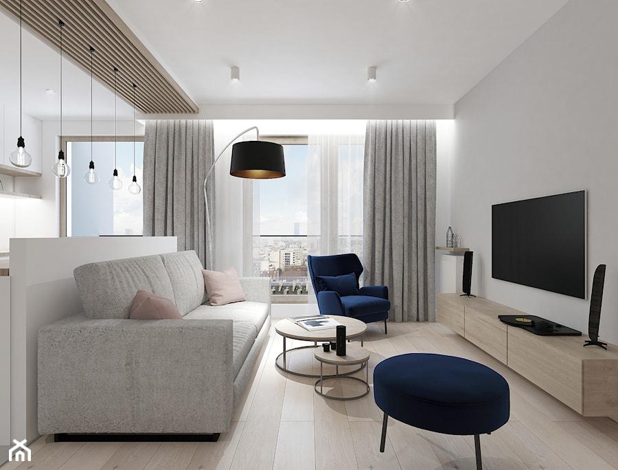 A/MLO/7/18 - Średni szary salon z kuchnią z tarasem / balkonem, styl nowoczesny - zdjęcie od Kaza_concept