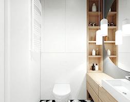 A/AK/8/18 - Mała biała szara łazienka w bloku w domu jednorodzinnym bez okna, styl nowoczesny - zdjęcie od Kaza_concept - Homebook