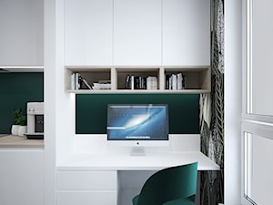 A/PK/6/18 - Małe zielone białe biuro kącik do pracy w pokoju, styl nowoczesny - zdjęcie od Kaza_concept