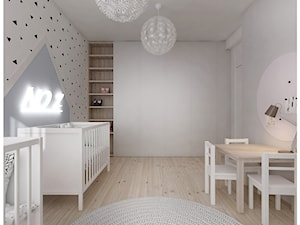 M3 dla czwórki. - Średni szary pokój dziecka dla chłopca dla dziewczynki dla rodzeństwa dla ucznia dla niemowlaka, styl nowoczesny - zdjęcie od Kaza_concept