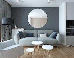 A/AK/8/18 - Mały biały czarny salon z kuchnią, styl nowoczesny - zdjęcie od Kaza_concept - Homebook