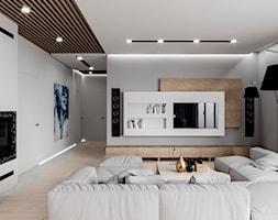 D/MU/12/17 - Średni szary salon z bibiloteczką z tarasem / balkonem, styl nowoczesny - zdjęcie od Kaza_concept