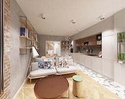 Skandynawska Wola - Mały szary salon z kuchnią z jadalnią, styl skandynawski - zdjęcie od Krystyna Regulska Architektura Wnętrz - Homebook