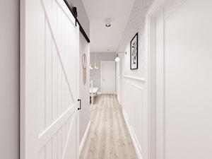 Kobiecy dom pod Warszawą - Duży biały hol / przedpokój, styl skandynawski - zdjęcie od Krystyna Regulska Architektura Wnętrz