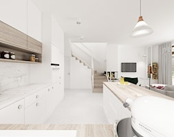 Kobiecy dom pod Warszawą - Duża otwarta biała kuchnia w kształcie litery u w aneksie z oknem, styl ... - zdjęcie od Krystyna Regulska Architektura Wnętrz - Homebook