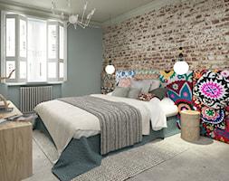 Kobiece wnętrze - Średnia niebieska brązowa sypialnia małżeńska, styl vintage - zdjęcie od Krystyna Regulska Architektura Wnętrz - Homebook
