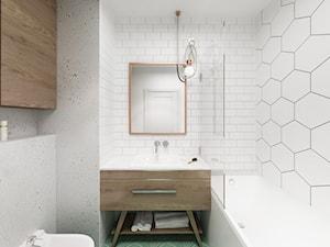 Skandynawski Vintage w Wilanowie - Mała biała łazienka w bloku w domu jednorodzinnym bez okna, styl vintage - zdjęcie od Krystyna Regulska Architektura Wnętrz