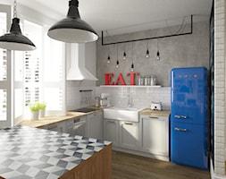 Kobiece wnętrze - Duża otwarta biała szara kuchnia w kształcie litery u z wyspą, styl vintage - zdjęcie od Krystyna Regulska Architektura Wnętrz