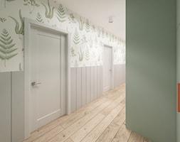 Skandynawski Vintage w Wilanowie - Duży biały zielony hol / przedpokój, styl vintage - zdjęcie od Krystyna Regulska Architektura Wnętrz