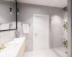 Skandynawska Wola - Mała szara łazienka w bloku w domu jednorodzinnym bez okna, styl skandynawski - zdjęcie od Krystyna Regulska Architektura Wnętrz - Homebook