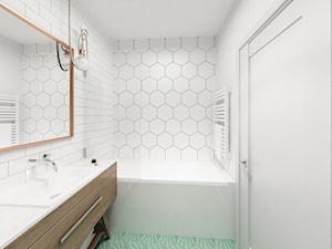 Skandynawski Vintage w Wilanowie - Mała biała łazienka na poddaszu w bloku w domu jednorodzinnym bez okna, styl vintage - zdjęcie od Krystyna Regulska Architektura Wnętrz