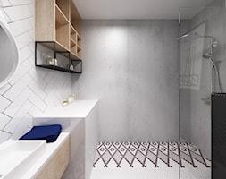 Apartament Śródmieście - Mała biała łazienka na poddaszu w bloku w domu jednorodzinnym bez okna, styl industrialny - zdjęcie od Krystyna Regulska Architektura Wnętrz
