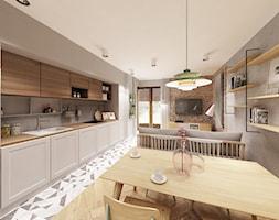 Skandynawska Wola - Duża otwarta szara kuchnia jednorzędowa w aneksie z oknem, styl skandynawski - zdjęcie od Krystyna Regulska Architektura Wnętrz - Homebook