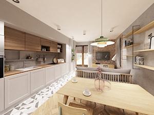 Skandynawska Wola - Duża otwarta szara kuchnia jednorzędowa w aneksie z oknem, styl skandynawski - zdjęcie od Krystyna Regulska Architektura Wnętrz