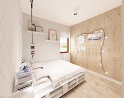 Skandynawska Wola - Mała beżowa sypialnia małżeńska, styl skandynawski - zdjęcie od Krystyna Regulska Architektura Wnętrz - Homebook