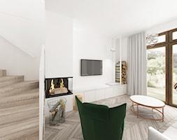 Kobiecy dom pod Warszawą - Średni biały salon, styl nowoczesny - zdjęcie od Krystyna Regulska Architektura Wnętrz - Homebook