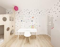 Skandynawska Wola - Średni biały szary pokój dziecka dla dziewczynki dla rodzeństwa dla malucha, st ... - zdjęcie od Krystyna Regulska Architektura Wnętrz - Homebook