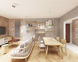 Skandynawska Wola - Mały szary salon z jadalnią, styl vintage - zdjęcie od Krystyna Regulska Architektura Wnętrz - Homebook