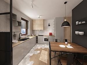 Apartament Śródmieście - Duża otwarta biała kuchnia w kształcie litery l, styl industrialny - zdjęcie od Krystyna Regulska Architektura Wnętrz
