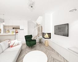 Kobiecy dom pod Warszawą - Średni biały salon z kuchnią - zdjęcie od Krystyna Regulska Architektura Wnętrz - Homebook