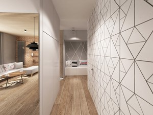 Apartament Śródmieście - Średni biały beżowy hol / przedpokój, styl skandynawski - zdjęcie od Krystyna Regulska Architektura Wnętrz