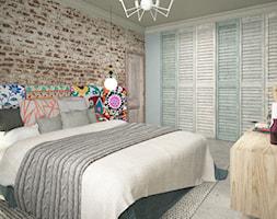 Kobiece wnętrze - Średnia niebieska czerwona sypialnia małżeńska, styl skandynawski - zdjęcie od Krystyna Regulska Architektura Wnętrz