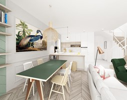 Kobiecy dom pod Warszawą - Mały biały salon z kuchnią z jadalnią, styl skandynawski - zdjęcie od Krystyna Regulska Architektura Wnętrz - Homebook