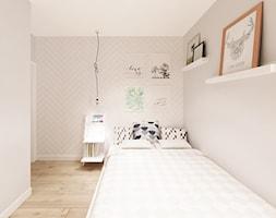 Skandynawska Wola - Mała beżowa sypialnia dla gości małżeńska, styl skandynawski - zdjęcie od Krystyna Regulska Architektura Wnętrz - Homebook