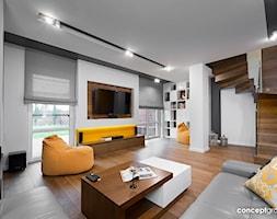 Dom w Raciborzu - Realizacja - Duży biały salon, styl nowoczesny - zdjęcie od Conceptgroup