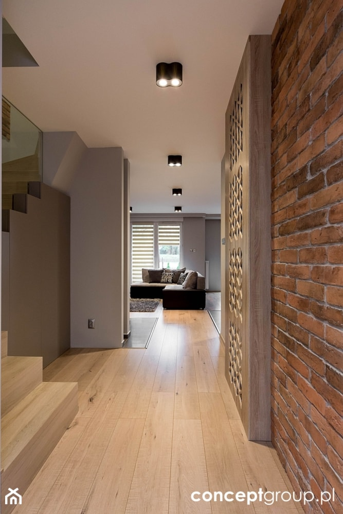 Dom w Rudzie Śląskiej - Realizacja - Średni beżowy brązowy hol / przedpokój, styl nowoczesny - zdjęcie od Conceptgroup