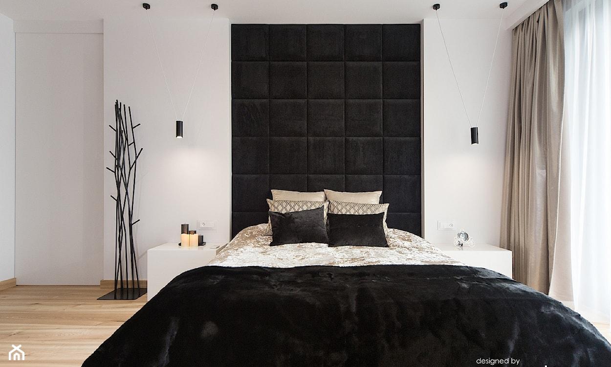 Biało-czarna nowoczesna sypialnia