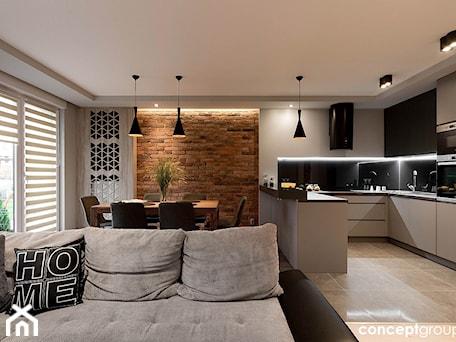 Aranżacje wnętrz - Kuchnia: Dom w Rudzie Śląskiej - Realizacja - Mała otwarta wąska czarna kuchnia w kształcie litery g w aneksie, styl nowoczesny - Conceptgroup . Przeglądaj, dodawaj i zapisuj najlepsze zdjęcia, pomysły i inspiracje designerskie. W bazie mamy już prawie milion fotografii!