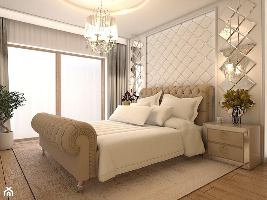 Warszawski sen.. - Średnia beżowa sypialnia małżeńska, styl glamour - zdjęcie od Inside Outside Design